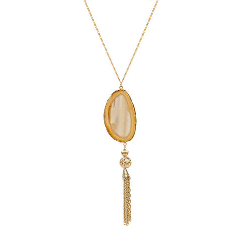 Agate Tassel Necklace - Gold Dipped - Natural