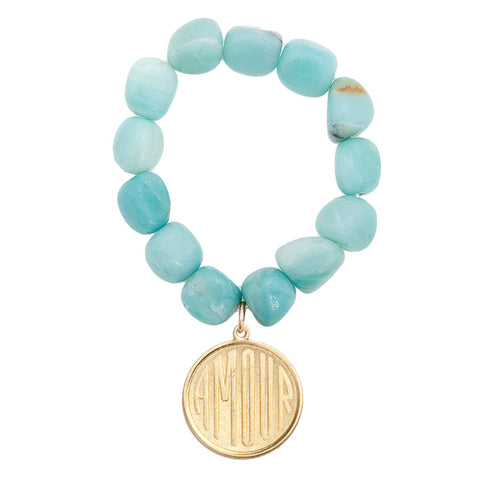 Gemstone Amazonite Amour Charm Bracelet