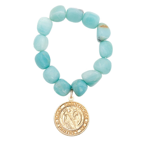 Gemstone Amazonite Saint Christopher Charm Bracelet