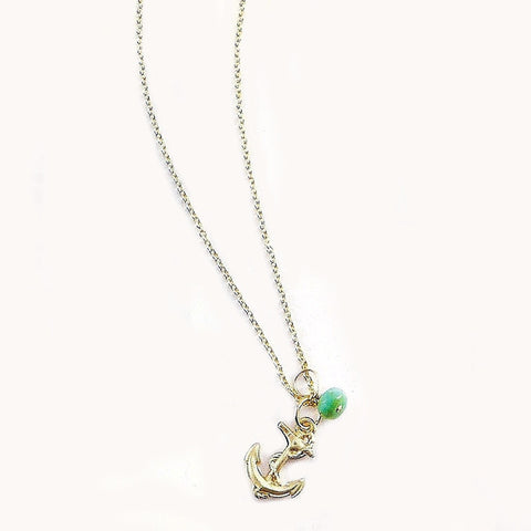 Mini Turquoise/Pearl Charm Necklace - Anchor
