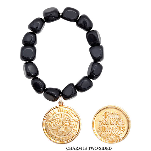 "Gemstone Black Onyx Nugget "" Faith Can Work Miracles/ All Things Are Possible With God"" Bracelet"