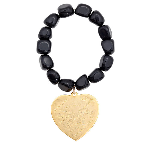 Gemstone Black Onyx Nugget Maxi Heart Bracelet