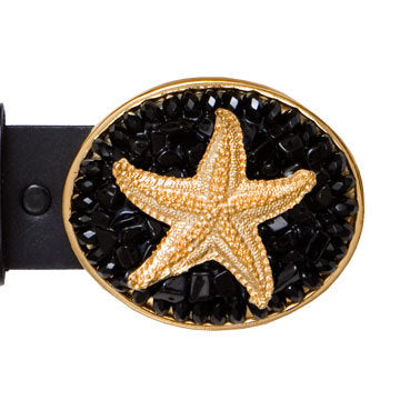 Gold Charm Black Onyx Starfish Buckle