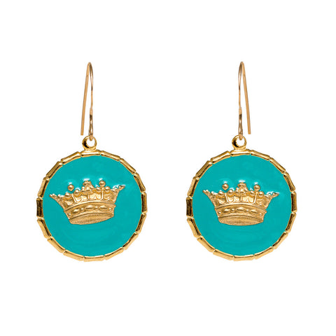 Enamel Button Dangle Charm Earrings - Crown