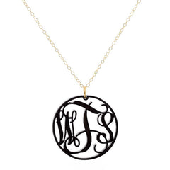 Monogrammed Acrylic Circle Necklace - Black