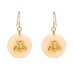 Tortoise Cream Dangle Enamel Charm Earrings - Bee