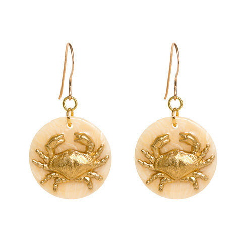 Tortoise Cream Dangle Enamel Charm Earrings - Crab