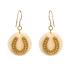 Tortoise Cream Dangle Enamel Charm Earrings - Horseshoe