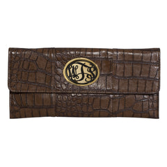 Crocodile Embossed Clutch  - Monogrammed Acrylic - Chocolate with Tortoise