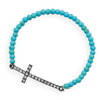 Cross Bracelet - Stretch Bead Turquoise