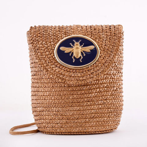 Straw Crossbody Bag - Natural - Bee