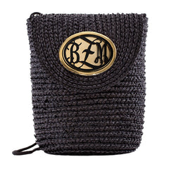 Crossbody Straw Bag Black  - Monogrammed Acrylic - Black