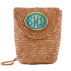 Crossbody Straw Bag Natural  - Monogrammed Acrylic - Turquoise