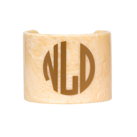 Monogrammed Resin Cuff Bracelet - Creamy Marble with Gold