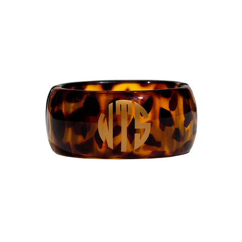 Monogrammed Resin Hinged Bangle Bracelet - Tortoise with Gold