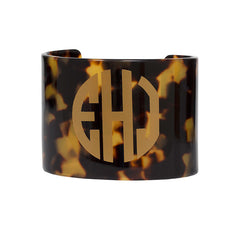 Monogrammed Resin Cuff Bracelet - Tortoise with Gold