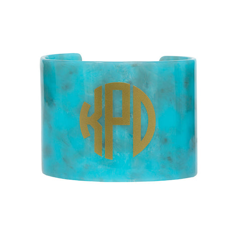 Monogrammed Resin Cuff Bracelet -Turquoise with Gold