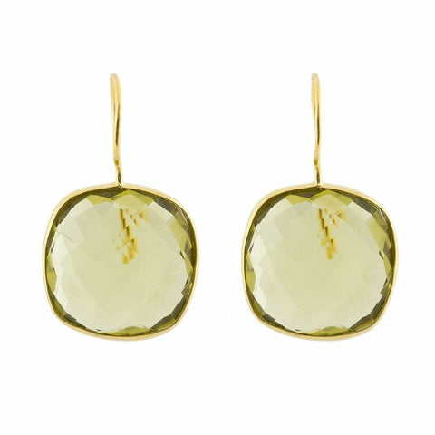 Pasha Cushion Cut Earrings - Lemon Quartz