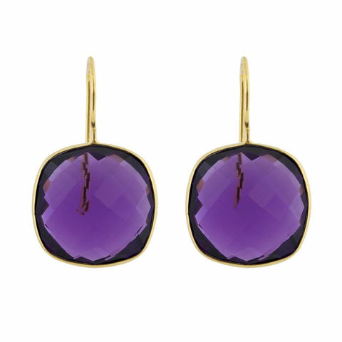 Pasha Cushion Cut Earrings - Amethyst