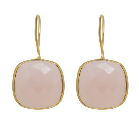 Pasha Cushion Cut Earrings - Rose Quartz