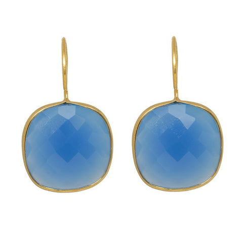 Pasha Cusuion Cut Earrings - Denim Chalcedony
