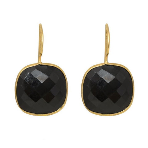 Pasha Cushion Cut Earrings - Black Onyx