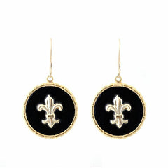 Enamel Button Dangle Charm Earrings - Fleur de Lis
