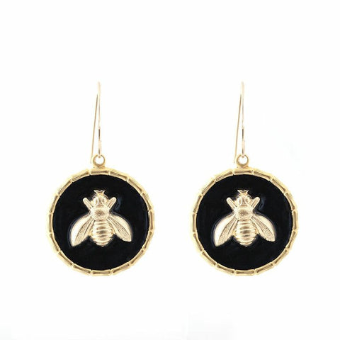 Enamel Button Dangle Charm Earrings - Bee