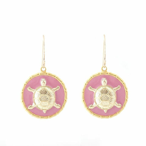 Enamel Button Dangle Charm Earrings - Turtle