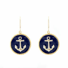 Enamel Button Dangle charm earrings - Anchor