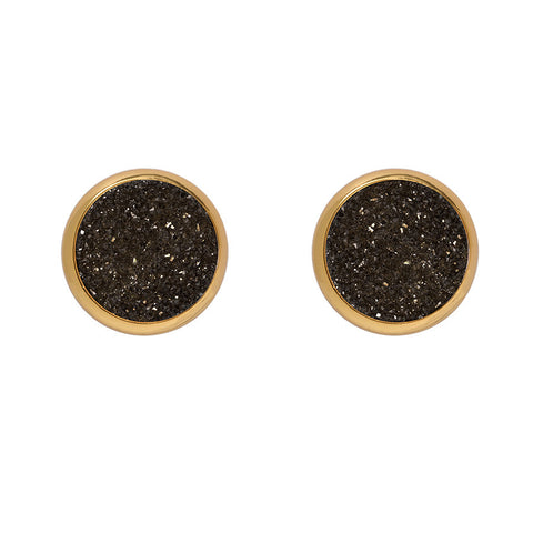 Drusy Stud Earrings - Black