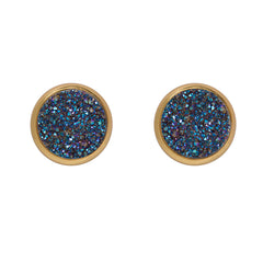 Drusy Stud Earrings - Blue