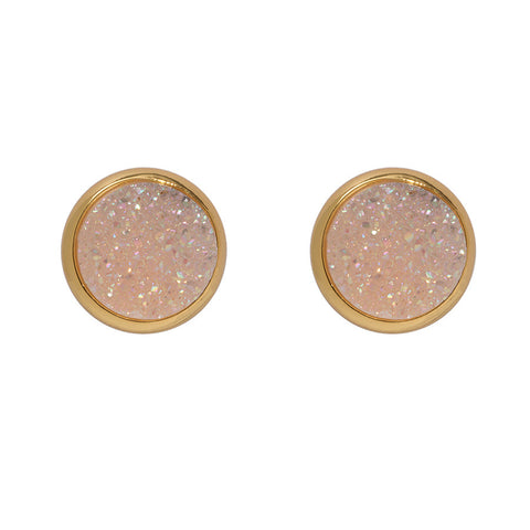 Drusy Stud Earrings - Blush