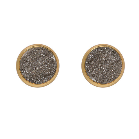 Drusy Stud Earrings - Dark Grey