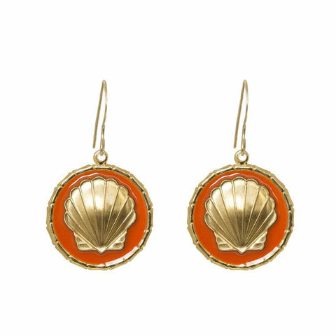 Enamel Button Dangle  Charm Earrings - Scallop