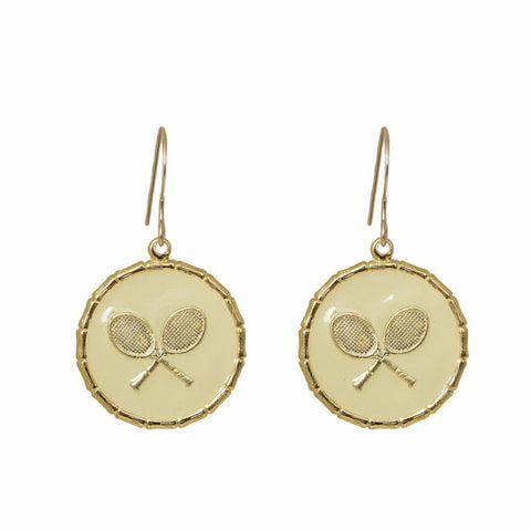 Enamel Button Dangle Charm Earrings - Tennis