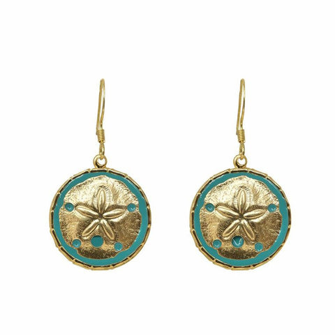 Enamel Button Dangle Charm Earrings - Sandollar
