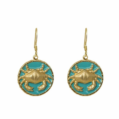 Enamel Button Dangle Charm Earrings - Crab