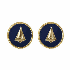 Enamel Button Charm Earrings - Boat