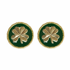 Enamel Button Charm Earrings - Clover