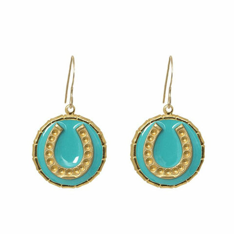 Enamel Button Dangle Charm Earrings - Horseshoe