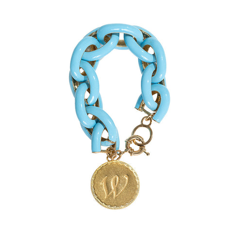 Chain Link Enamel Initial Charm Bracelet - Light Blue