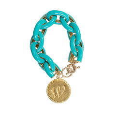 Chain Link Enamel Initial Charm Bracelet - Turquoise