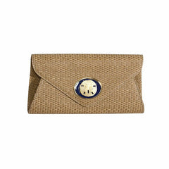 Straw Envelope Clutch - Natural - Navy Sandollar
