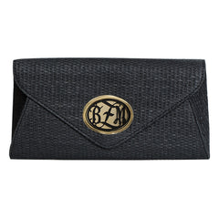Envelope Straw Bag Black  - Monogrammed Acrylic - Black