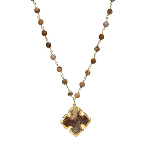 French Cross Gemstone Beaded Necklace - Picture Jasper