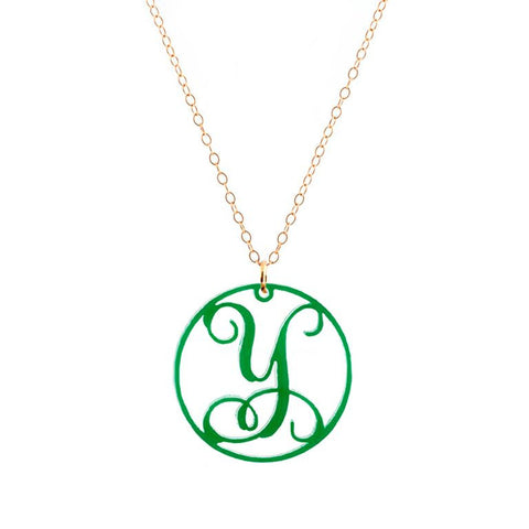 "Charm Circle Acrylic Initial Necklace - Large 1 1/2"" Green"
