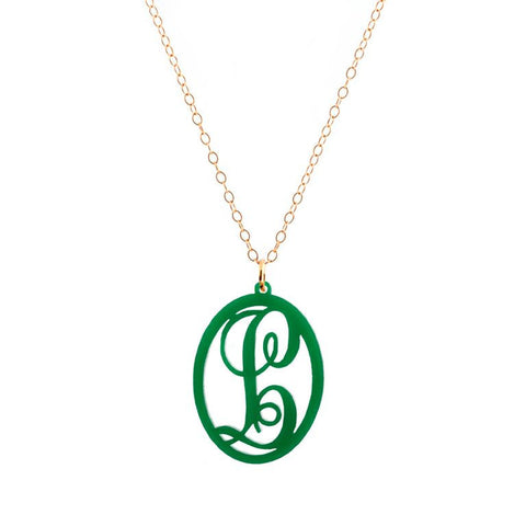 Charm Oval Acrylic Initial Necklace  - Large Green