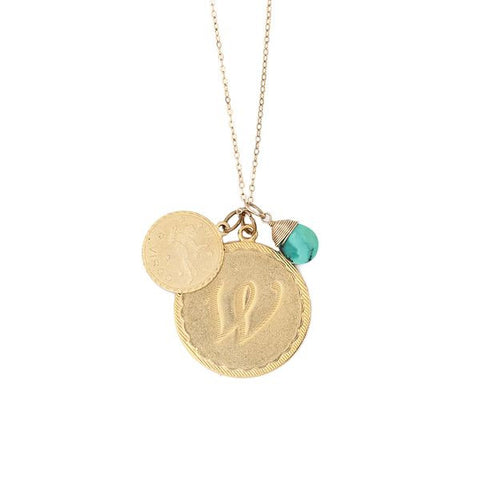 Cluster Necklace with Initial, Zodiac and Birthstone