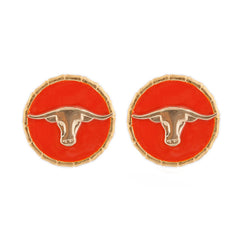 Enamel Button Charm Earrings - Steerhead